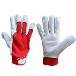 PD Piros puha kecskebőr tépőzáras sofőrkesztyű, pamut kézhát 8