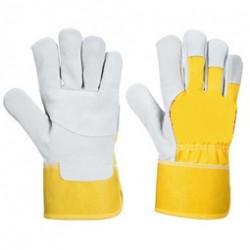 PD Marhahasítékbőr sárga/szürke kombinált rakodókesztyű 10,5