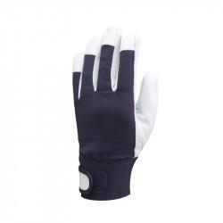 PD Kék puha kecskebőr tépőzáras sofőrkesztyű, pamut kézhát méret: 10