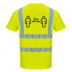 Távolságtartásra figyelmeztető Hi-Vis póló Sárga L